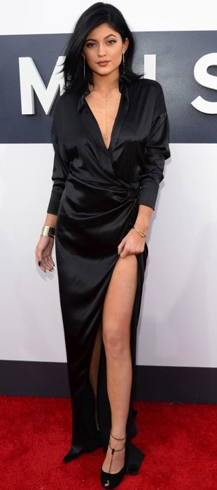 Kylie Jenner in a black Alexandre Vauthier satin dress at the VMAs