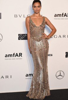 Shanina Shaik Stuns in Embellished Gown at AmfAR Milano 2014