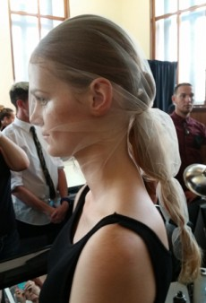 Backstage at NYFW: Porcelain Skin and Veiled Ponytails at Katie Gallagher