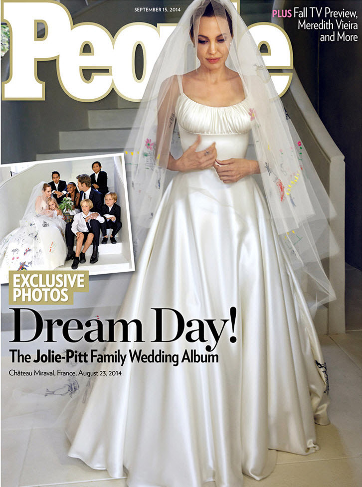 The cover of People magazine, dated 15th September, 2014, featuring the wedding of Angelina Jolie to Brad Pitt