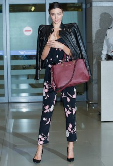 Miranda Kerr Toughens up Girlie Florals as She Touches Down in South Korea