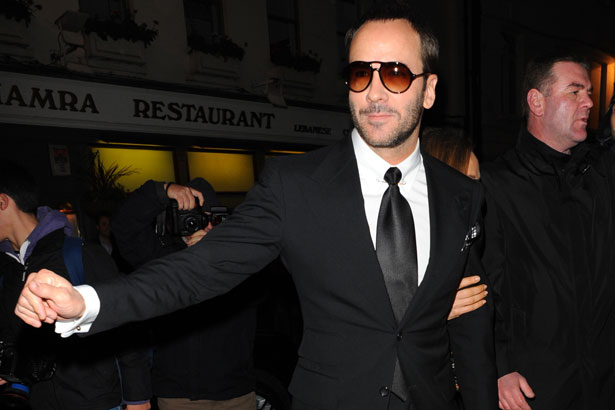 Tom Ford pictured in a suit and sunglasses