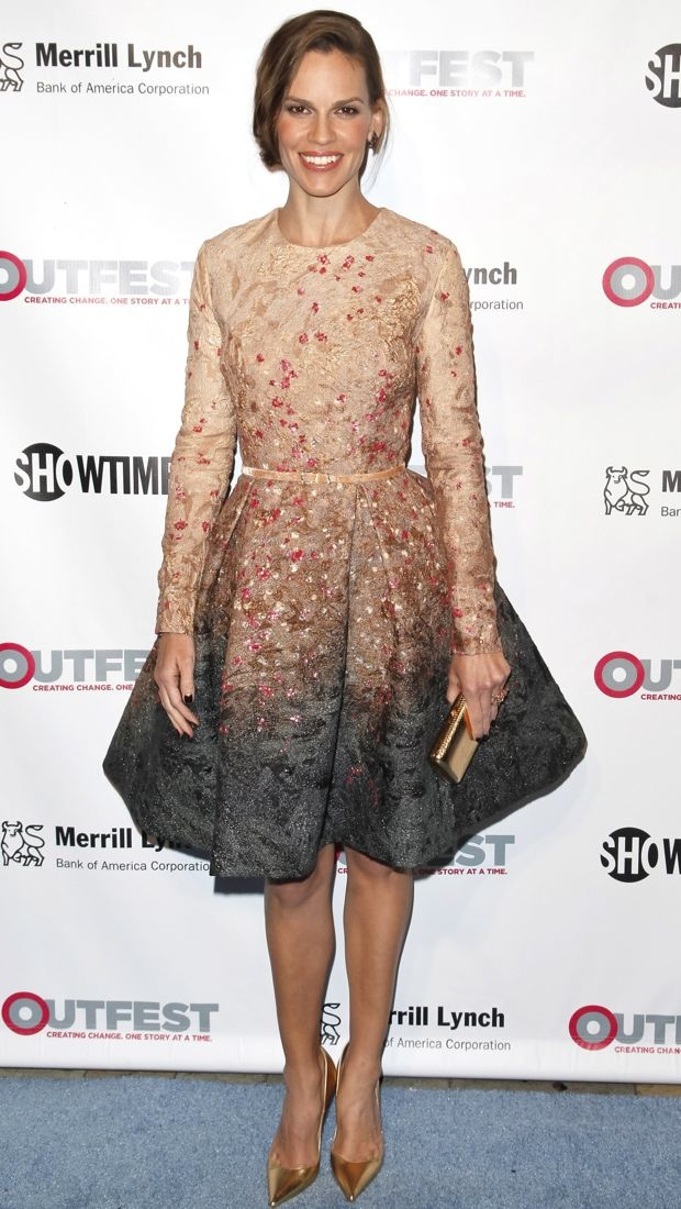 Hilary Swank wears an Elie Saab Fall 2014 Couture dress to Outfest Awards