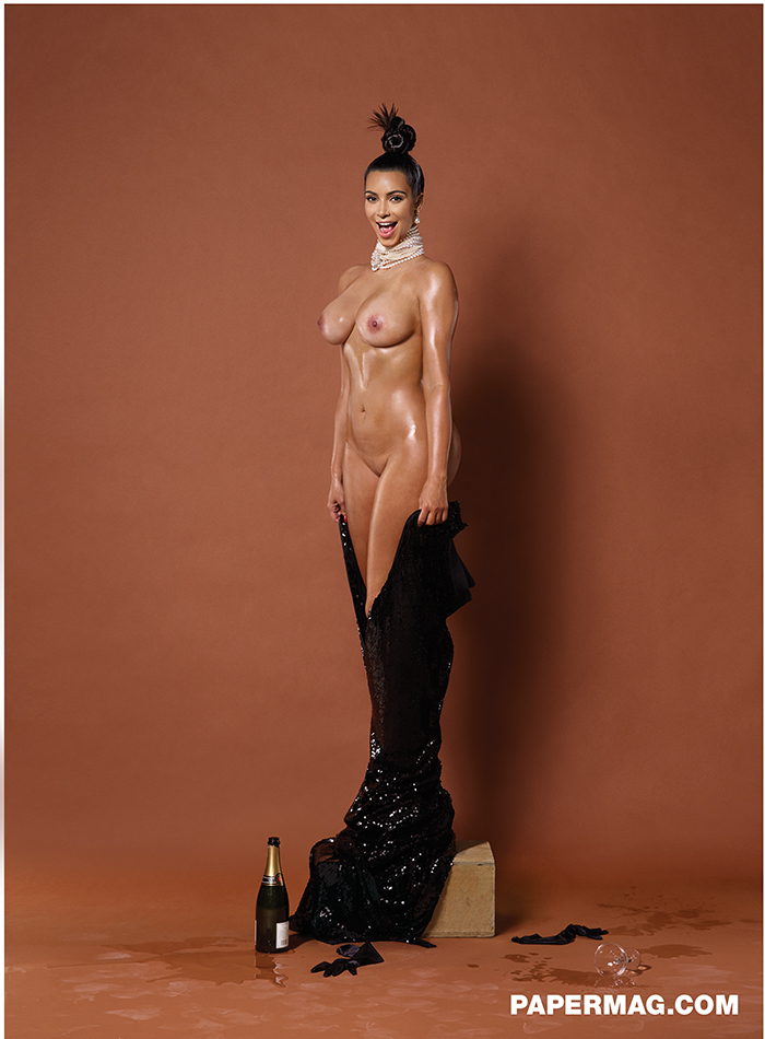 Kim Kardashian fully nude on this frontal shot for paper magazine