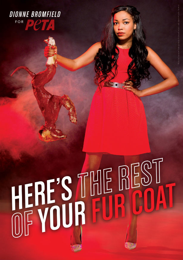 Dionne Bromfield in a anti-fur ad for Peta