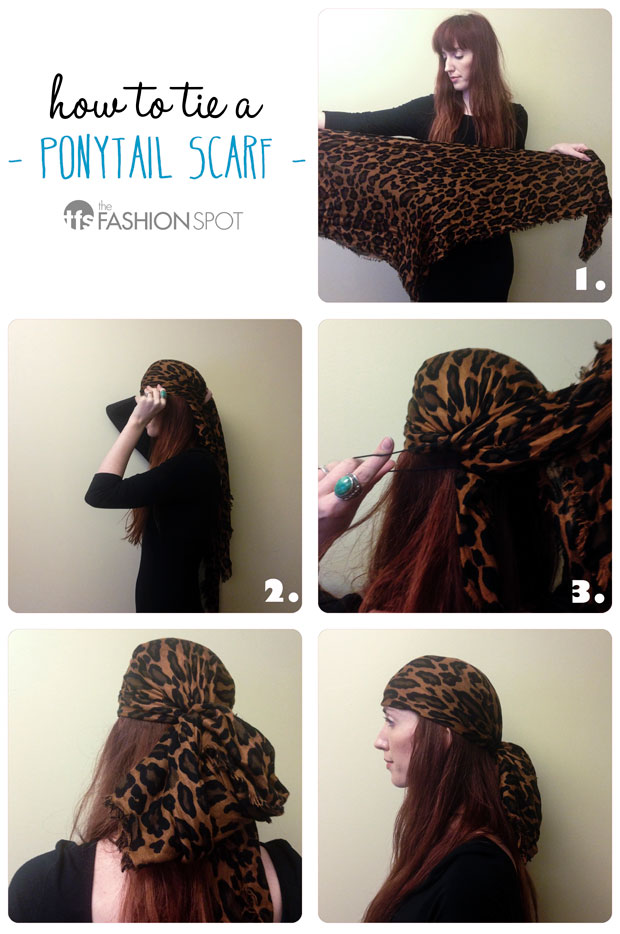 how to tie a ponytail scarf
