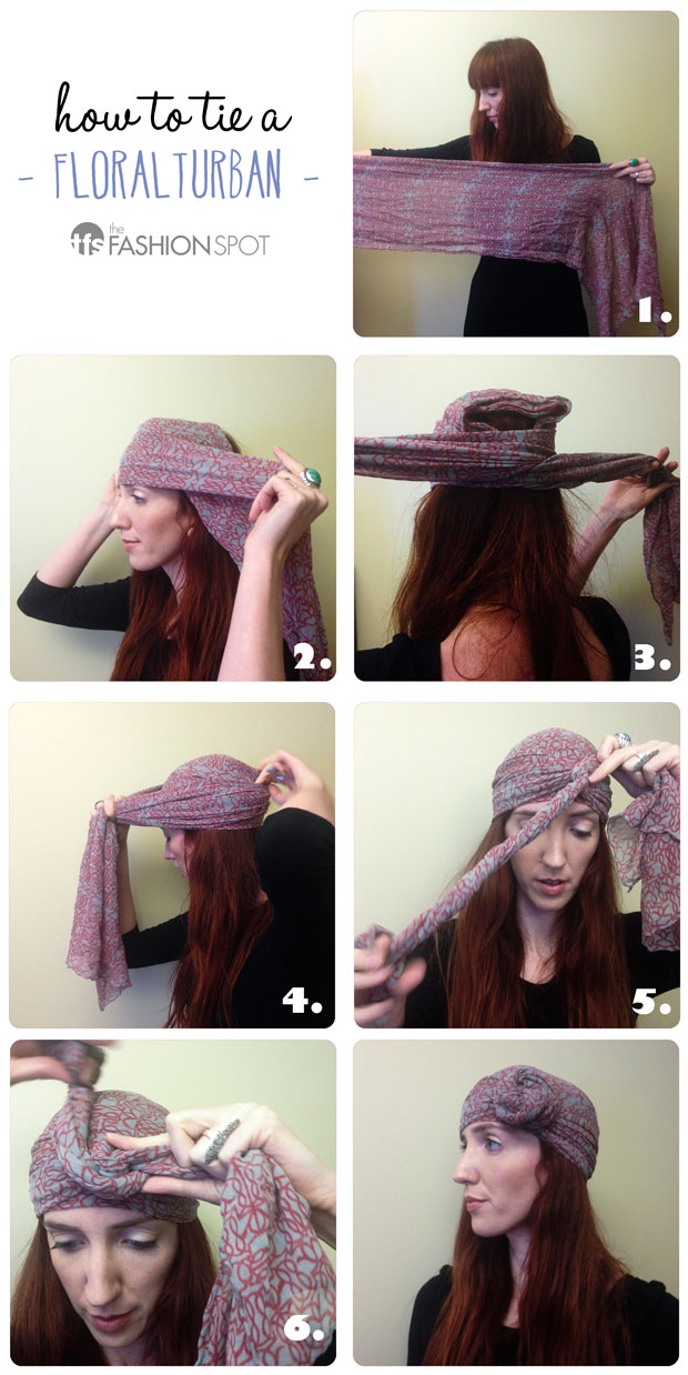 how to tie a floral turban