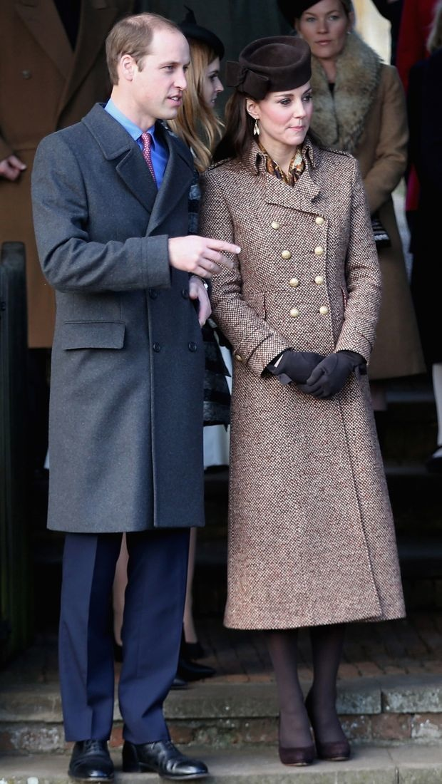 Kate Middleton attends services in a chic tweed coat