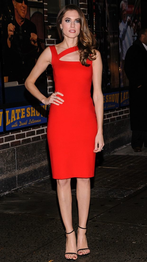 Allison Williams wears a little red dress for Letterman