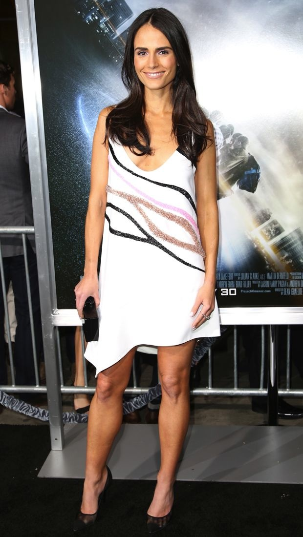 Jordana Brewster wears a springy Narciso Rodriguez dress