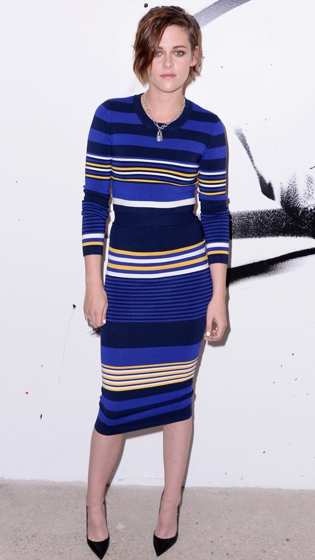 Kristen Stewart wears a striped Torn by Ronny Kobo ensemble