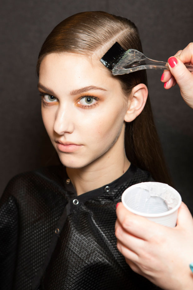 model receiving hair keratin treatment