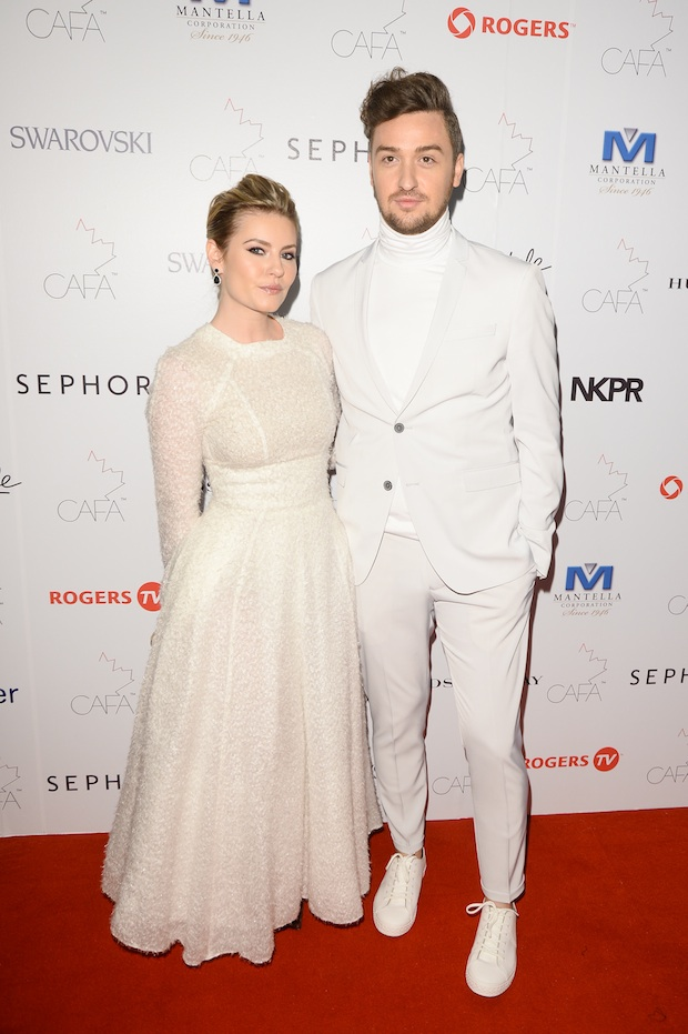 Elisha Cuthbert with designer Matthew Gallagher; Image: