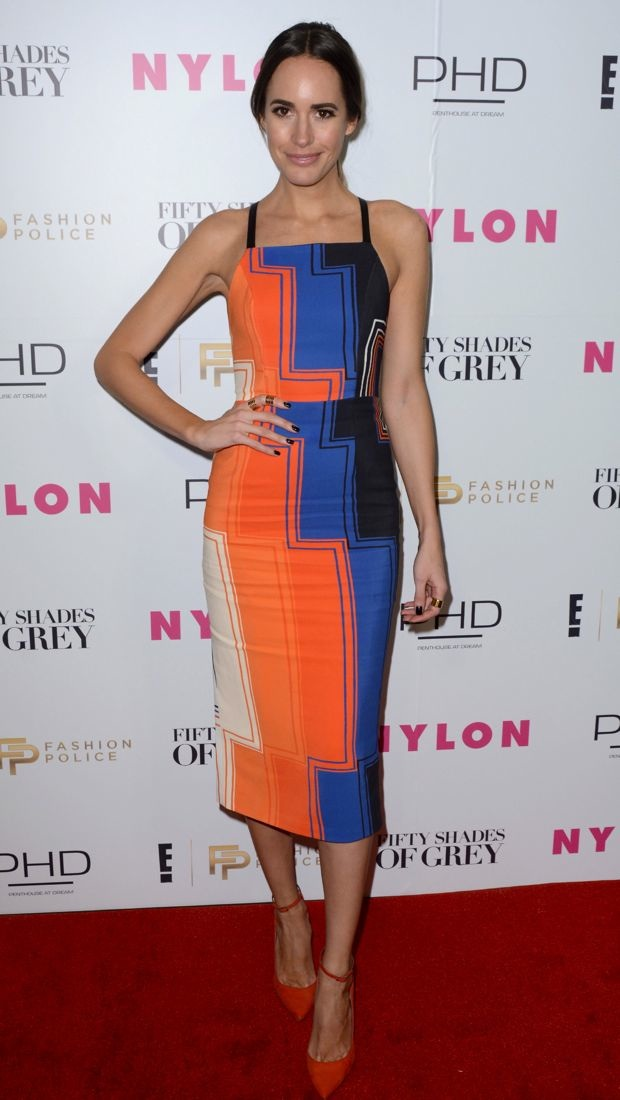 Louise Roe wears a colorful Manning Cartell dress
