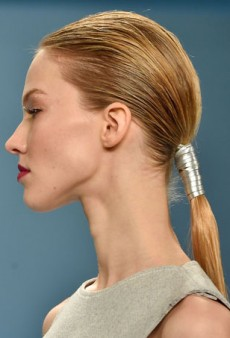 Sleek, Leather-Wrapped Ponytails at Carolina Herrera Gave Models an Edge