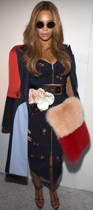 Beyoncé sports a colorblock Harbison coat to Kanye West's Adidas Originals presentation