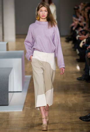 A model wearing culottes on the runway at Tibi.