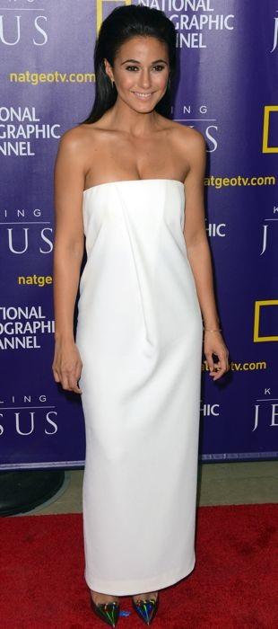 Emmanuelle Chriqui sports a simple white Solace London dress to