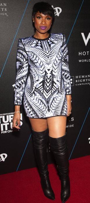 Jennifer Hudson wears a Balmain dress at the Turn It Up For Change Ball