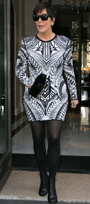 Kris Jenner in a graphic Balmain dress at Paris Fashion Week