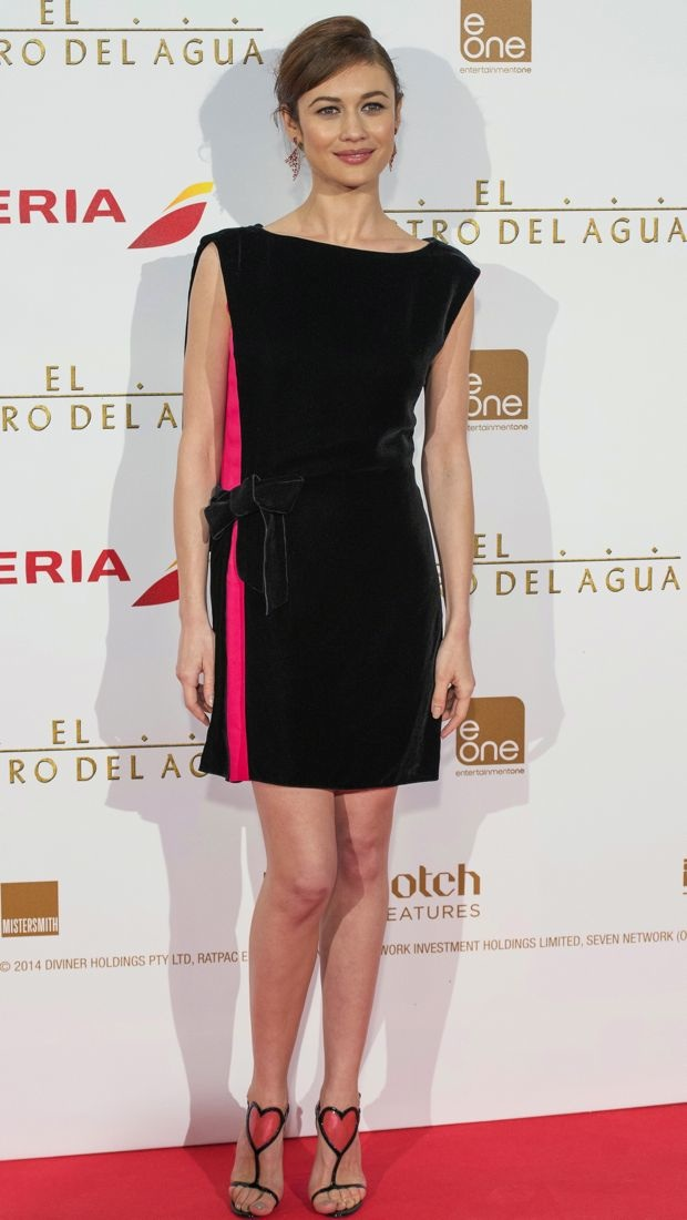 Olga Kurylenko sports a velvet little black dress by Lanvin to The Water Diviner premiere