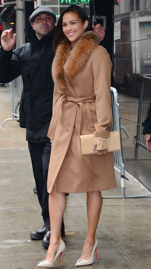 Paula Patton wears a lust-worthy Ellen Tracy camel coat with fur collar outside
