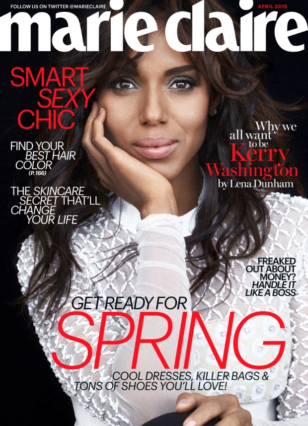 US Marie Claire April 2015 Kerry Washington Tesh