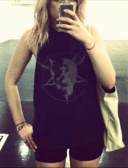 Me before a class. No pink required; pentagram shirts optional.