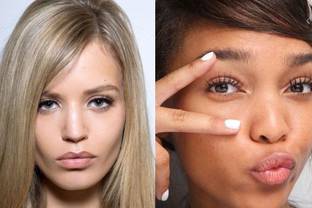Plump lips at Versace Fall 2014; Natural-looking false lashes at Isola Marras Spring 2015