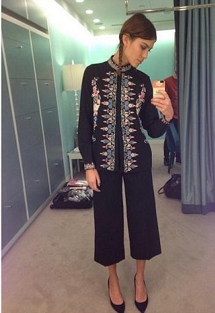 Style Icon Alexa Chung takes a selfie wearing Vilshenko