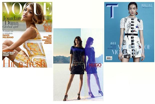 Jourdan Dunn via British Vogue; Kasia Struss via Hugo Boss; Fei Fei Sun via T