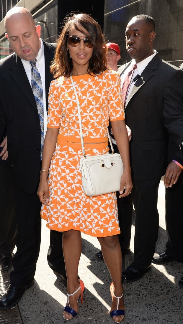 Kerry Washington wears Tanya Taylor patterned separates in NYC