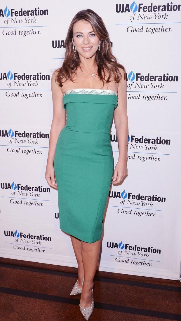 Elizabeth Hurley wears a prim and proper green dress to the UJA-Federation of New York Entertainment Division Signature Gala