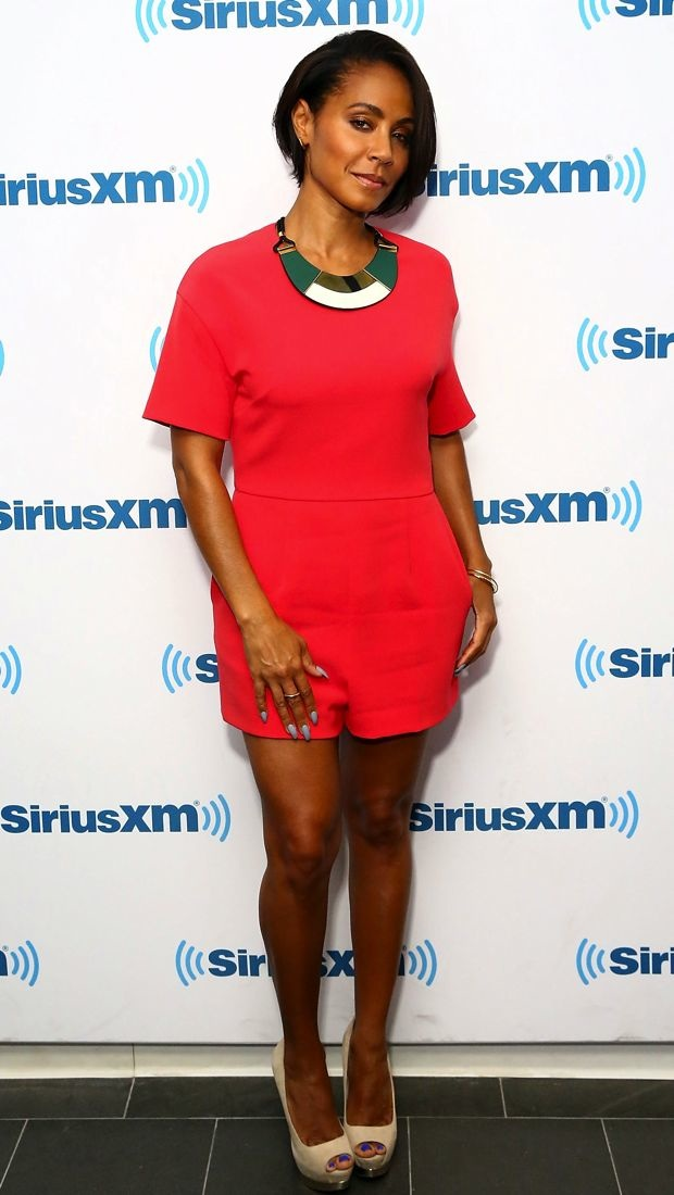 Jada Pinkett Smith sports a colorful MSGM romper at SiriusXM Studios