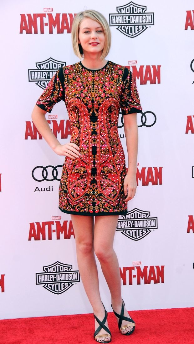 Ryan Simpkins impresses in an embroidered dress at the Ant-Man premiere