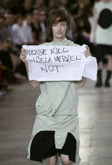 Model Disrupts Rick Owens' Runway with Protest Banner — and He's Furious