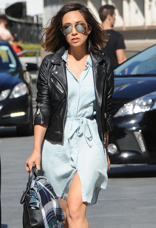 Myleene Klass wearing a denim dress.