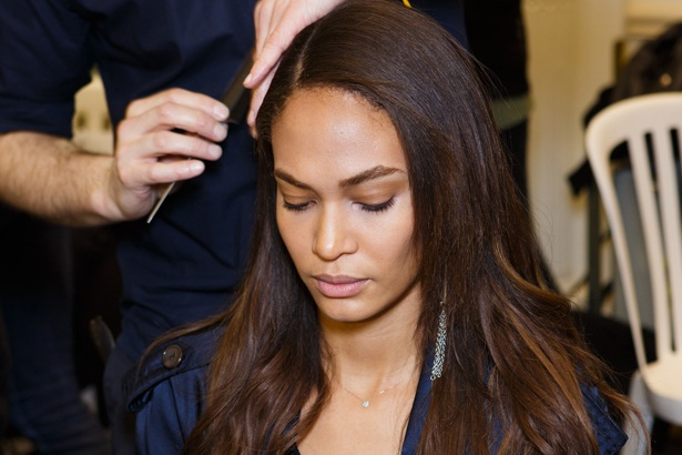 Joan Smalls backstage at Balmain Fall 2015