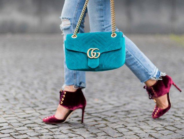 Model and fashion blogger Gitta Banko wearing velvet heels during the Mercedes-Benz Fashion Week Berlin Spring/Summer 2018 on July 7, 2017 in Berlin, Germany.