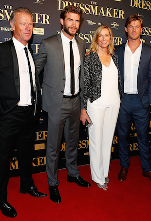 Craig Hemsworth, Liam Hemsworth, Leonie Hemsworth and Chris Hemsworth arrive ahead of the Australian premiere of 'The Dressmaker' on October 18, 2015