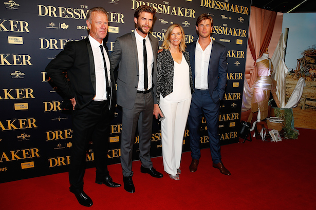 Craig Hemsworth, Liam Hemsworth, Leonie Hemsworth and Chris Hemsworth arrive ahead of the Australian premiere of 'The Dressmaker' on October 18, 2015