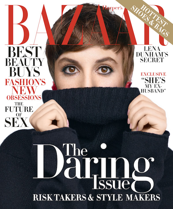 Lena Dunham on the cover of November 2015 Harper's Bazaar