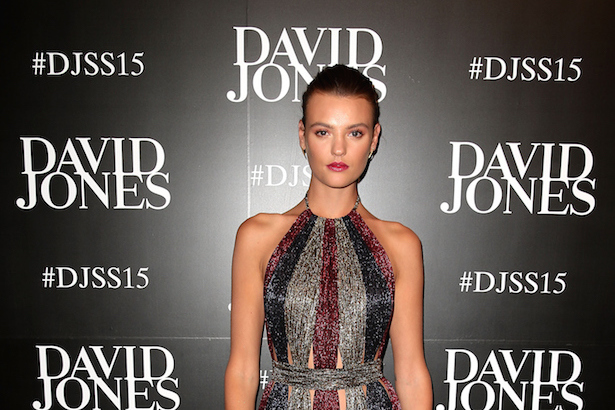 SYDNEY, AUSTRALIA - AUGUST 05: Model Montana Cox arrives ahead of the David Jones Spring/Summer 2015 Fashion Launch at David Jones Elizabeth Street Store on August 5, 2015 in Sydney, Australia. (Photo by Brendon Thorne/Getty Images for David Jones)