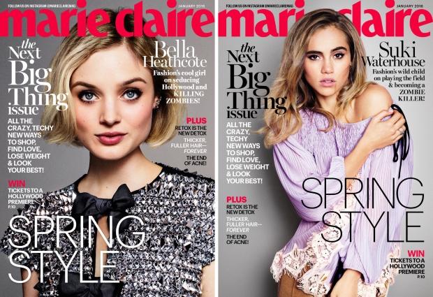 US Marie Claire January 2016 : Lily James, Bella Heathcote & Suki Waterhouse