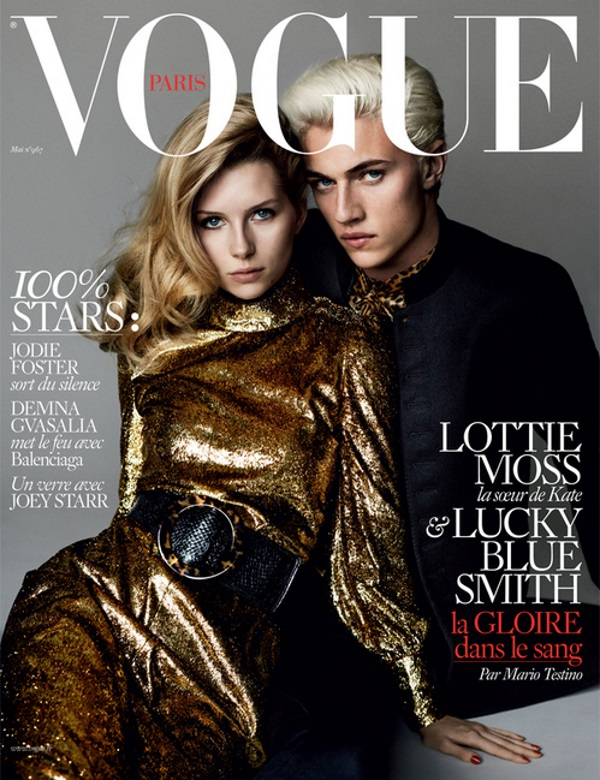 Vogue Paris May 2016 : Lottie Moss & Lucky Blue Smith by Mario Testino