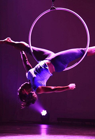 Serena Williams rehearses for her acrobatic solo at this year's Williams Invitational.