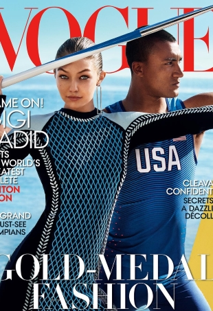 US Vogue August 2016 : Gigi Hadid & Ashton Eaton by Mario Testino