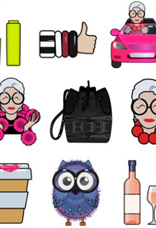 Step aside, Kim Kardashian — style icon Iris Apfel now has her own emoji keyboard, designed in collaboration with Snaps to promote her upcoming Macy's line.