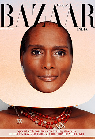Tracey Africa on the cover of Harper's Bazaar India.