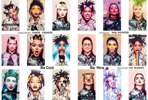 Kendall Jenner and Willow Smith play with various Be Cool Be Nice Snapchat lenses.